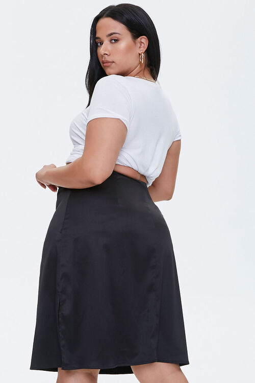Plus Size Satin Midi Skirt, image 4