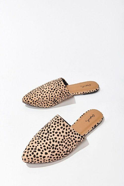 TAN/BLACK Faux Suede Cheetah Mules, image 3