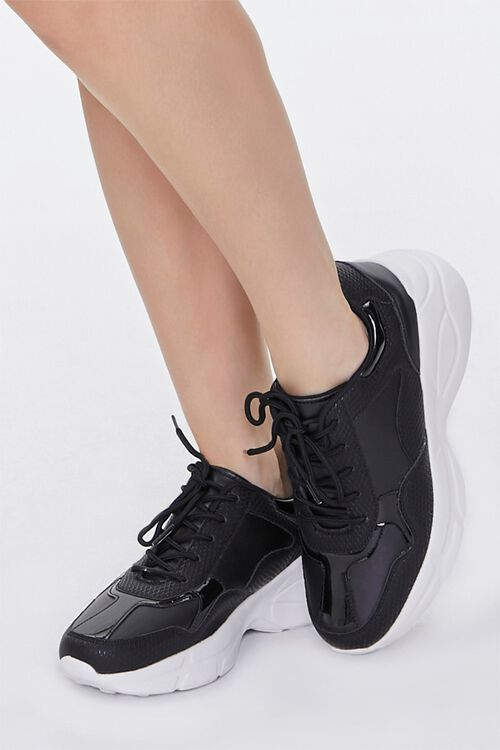 Faux Leather Low-Top Sneakers, image 1