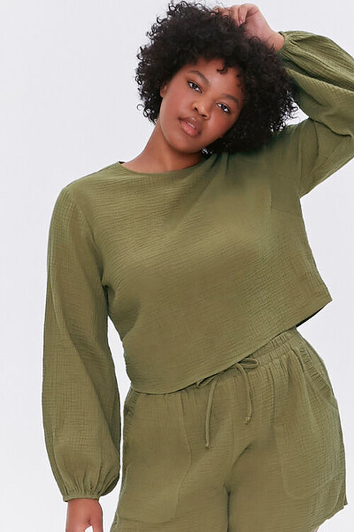 OLIVE Plus Size Peasant Sleeve Top, image 1