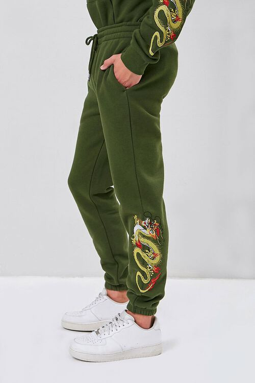 Dragon Embroidered Graphic Joggers, image 3