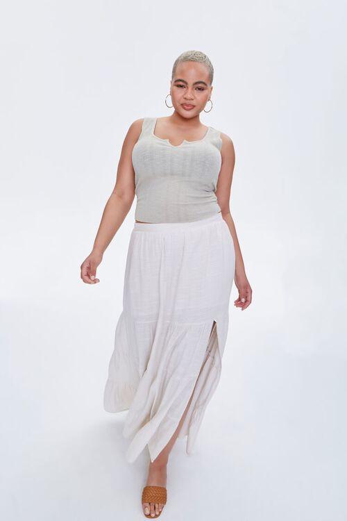 Plus Size Linen Maxi Skirt, image 1