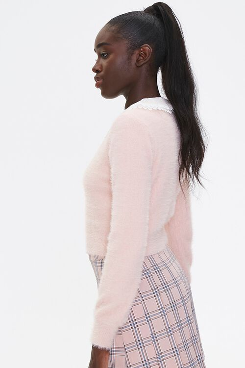 Fuzzy Knit Lace-Collar Cardigan, image 2
