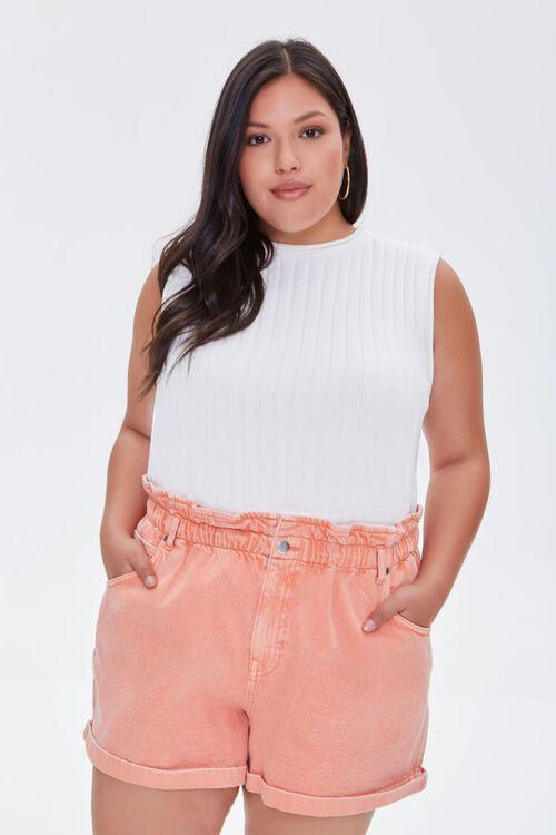Plus Size Paperbag Denim Shorts, image 1