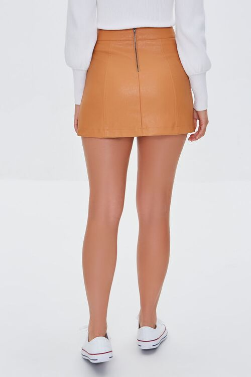 CAMEL Faux Leather Mini Skirt, image 4