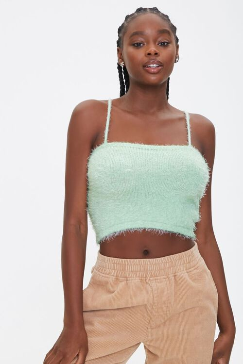 MINT Fuzzy Knit Cropped Cami, image 1