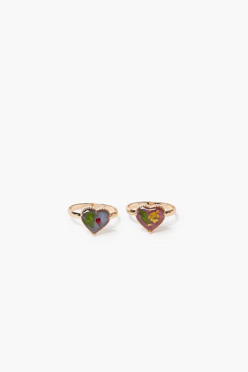 GOLD/MULTI Flower Heart Charm Ring Set, image 1