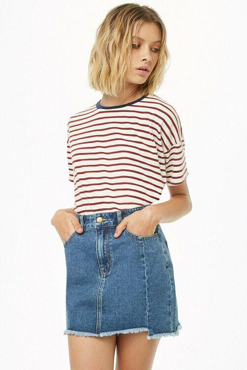 Step Hem Denim Mini Skirt, image 1