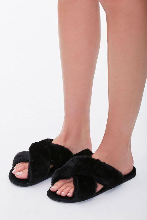 Faux Fur Crisscross Slippers, image 1
