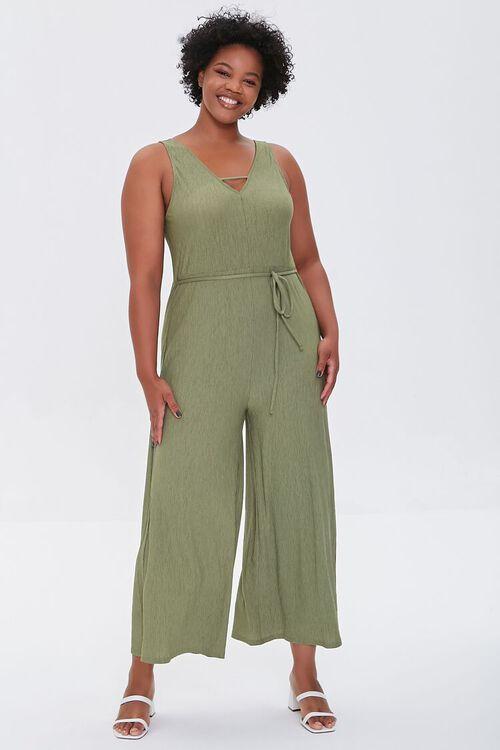 OLIVE Plus Size Wide Leg Cutout Jumpsuit, image 4