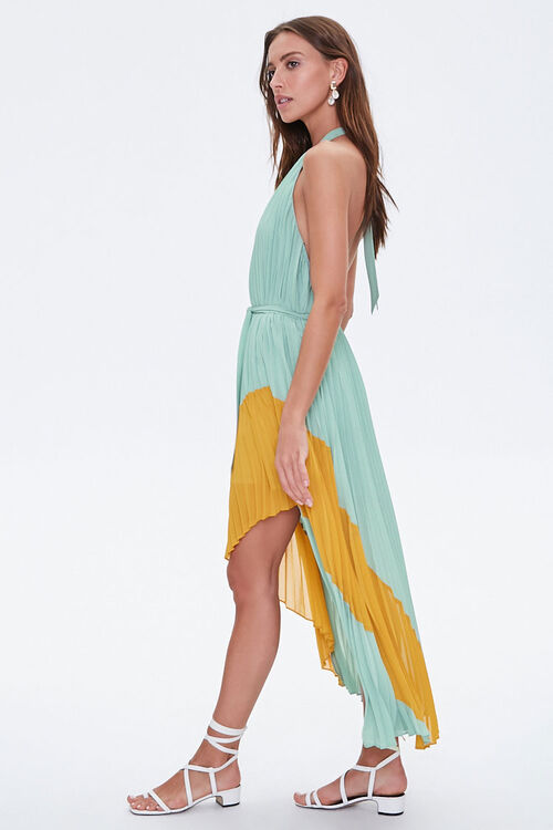 Pleated High-Low Halter Dress, image 2