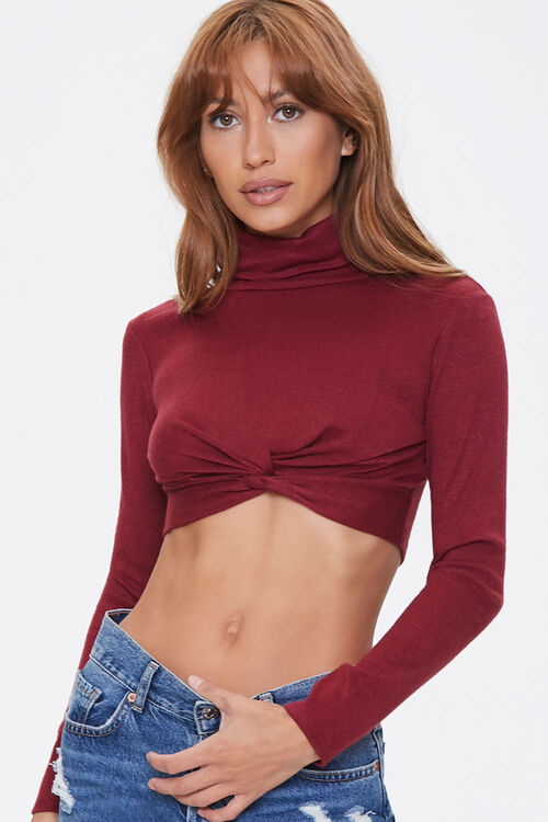 Twist-Front Turtleneck Crop Top, image 1