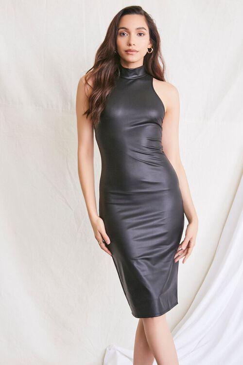 BLACK Faux Leather Slit Dress, image 1