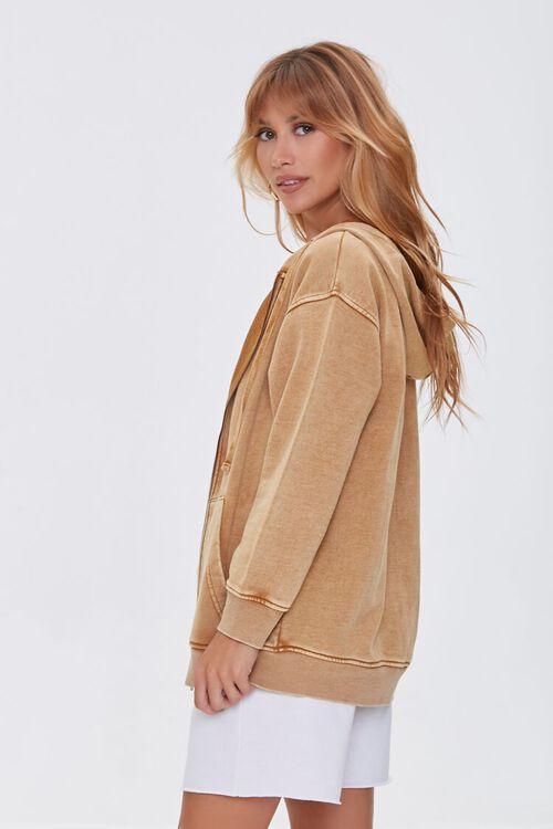 CAMEL Oil Wash Fleece Zip-Up Hoodie, image 2