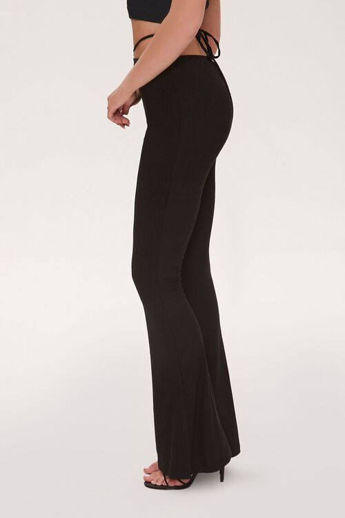 Ribbed Knit Self-Tie Flare Pants, image 3