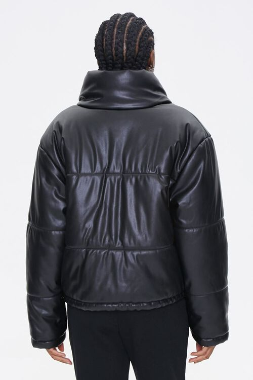 Faux Leather Puffer Jacket, image 2