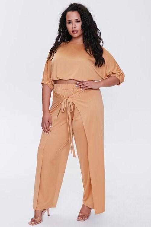 Plus Size Crop Top & Pants Set, image 1