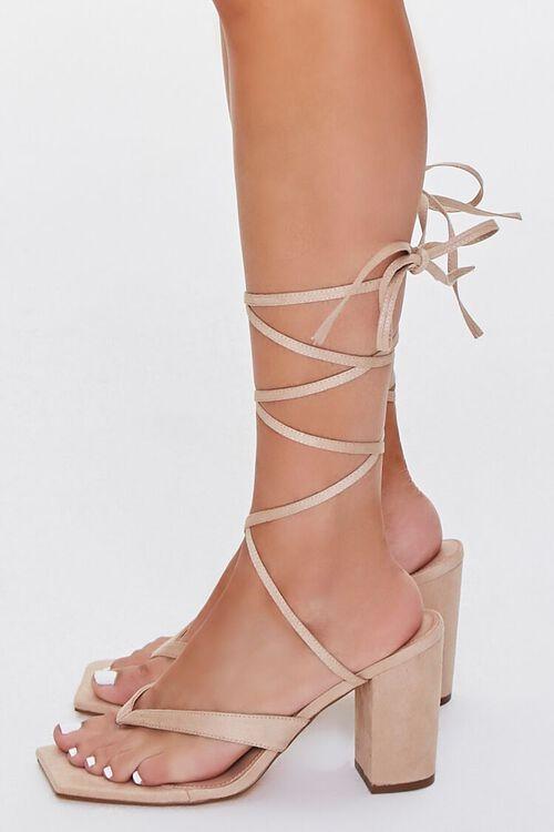 Lace-Up Thong-Toe Block Heels, image 2