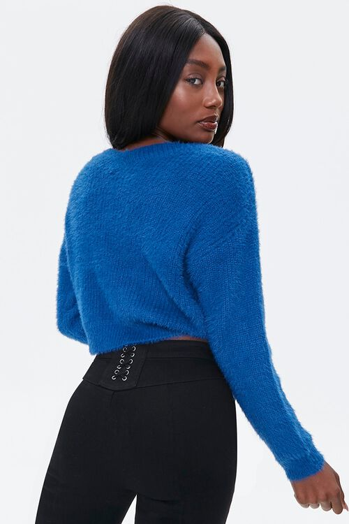 Fuzzy Ruched Drawstring Sweater, image 3