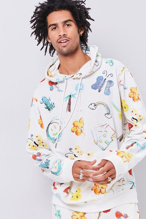 Doodle Print French Terry Hoodie, image 1