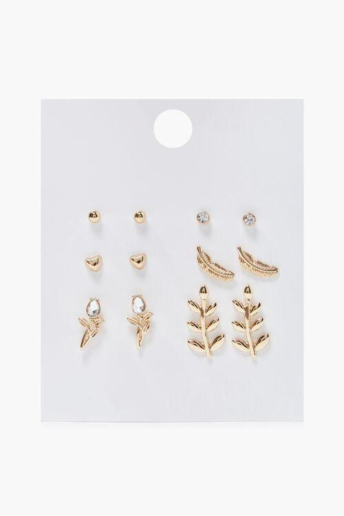 Feather & Leaf Charm Stud Earring Set, image 1