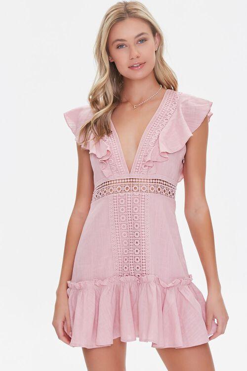 Ruffled Lace-Trim Cap-Sleeve Dress, image 1