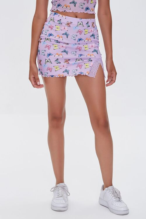 Butterfly Print Bodycon Mini Skirt, image 2