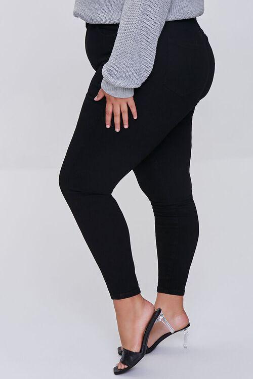 BLACK Plus Size Basic Skinny Jeans, image 3
