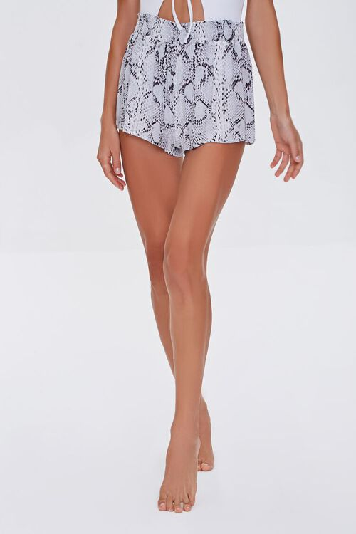 Snakeskin Print Swim Cover-Up Shorts, image 2