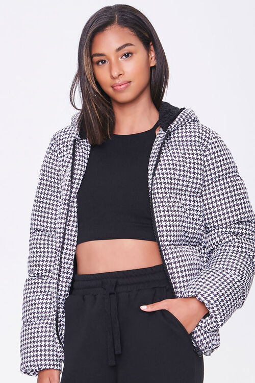 Hooded Houndstooth Puffer Jacket, image 1
