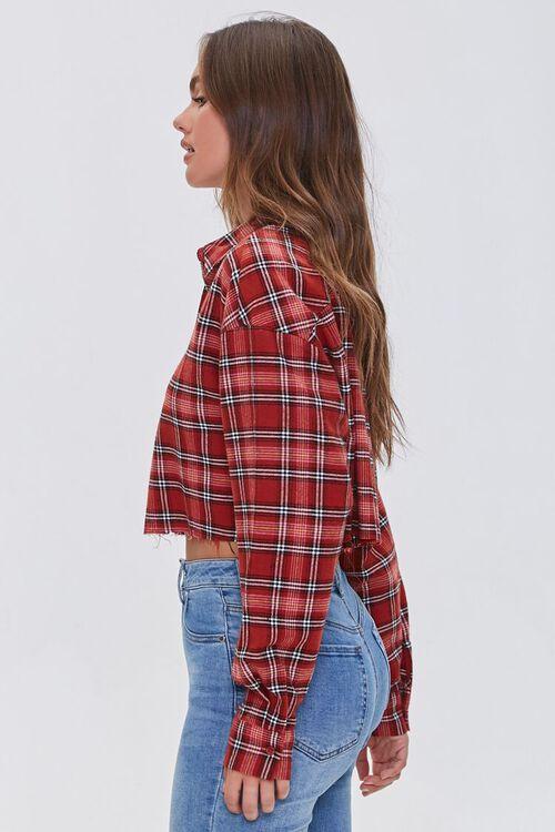 Raw-Cut Cropped Plaid Shirt, image 2