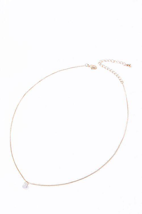 GOLD/CLEAR CZ Stone Charm Necklace, image 3