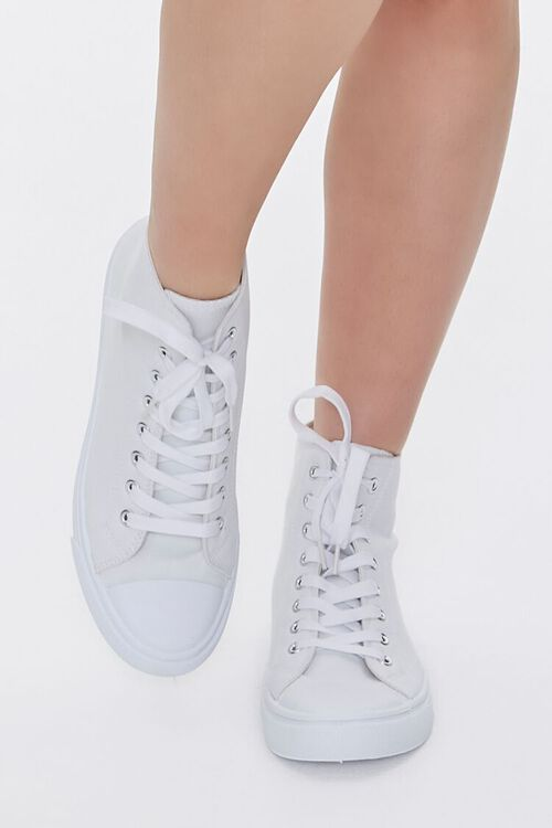 WHITE Lace-Up High-Top Sneakers, image 4