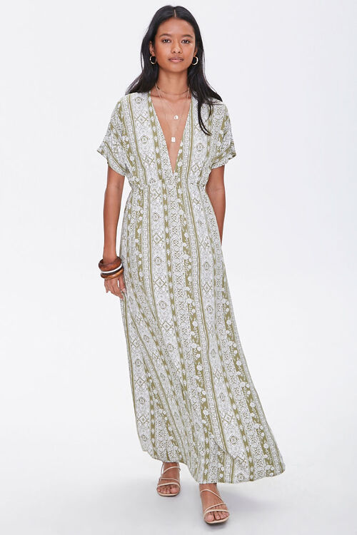 Plunging Floral Maxi Dress, image 4