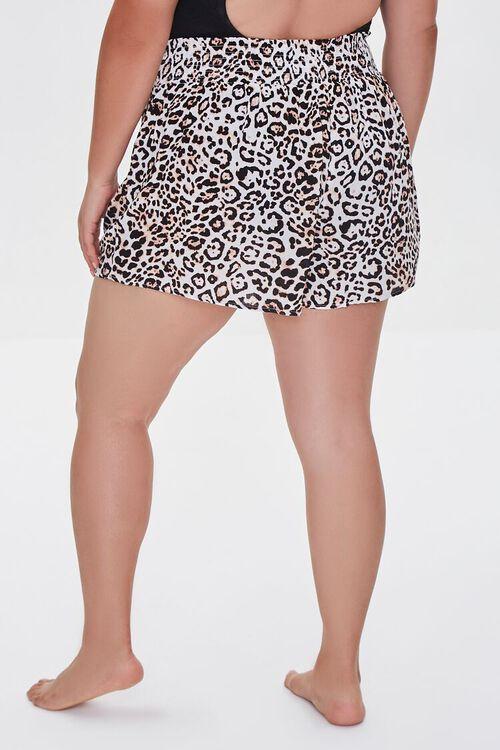 TAN/BLACK Plus Size Leopard Swim Cover-Up Shorts, image 4