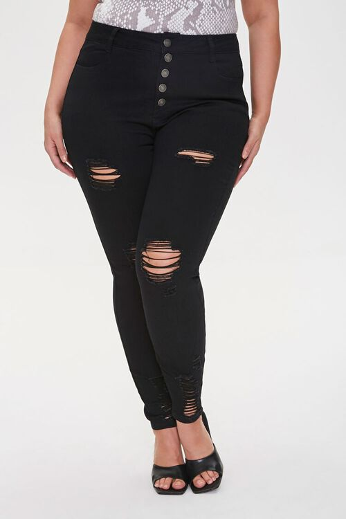 Plus Size Distressed Ankle Jeans, image 2