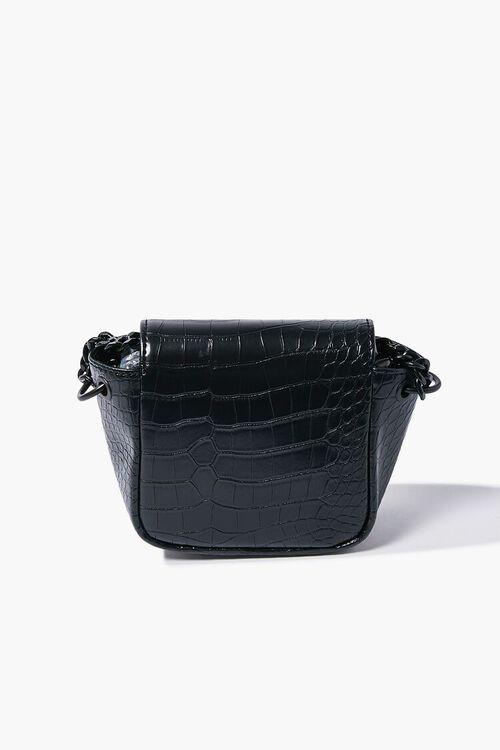 BLACK Faux Croc Leather Crossbody Bag, image 3