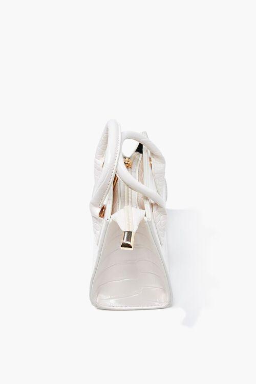 WHITE Faux Croc Leather Crossbody Bag, image 2