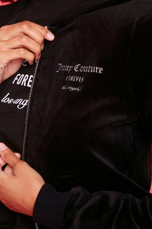 BLACK/SILVER Juicy Couture Velour Zip-Up Jacket, image 5