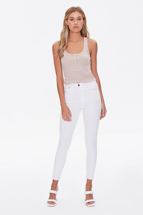 TAUPE Ribbed Knit Tank Top, image 4