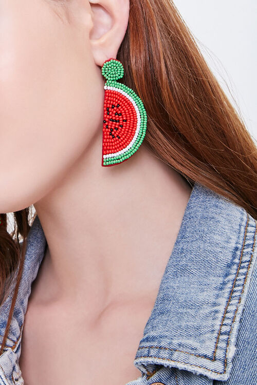 Beaded Watermelon Drop Earrings, image 1