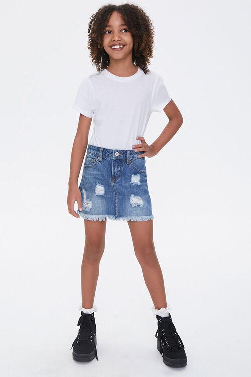 Girls Denim Frayed Skirt (Kids), image 5