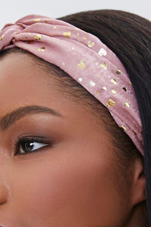 PINK/GOLD Metallic Heart Print Headwrap, image 3