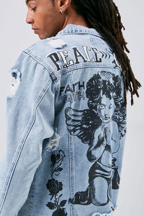 Peace Angel Graphic Distressed Denim Jacket, image 1