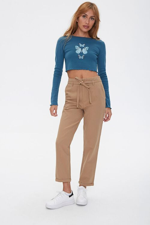 Lettuce-Edge Butterfly Crop Top, image 4