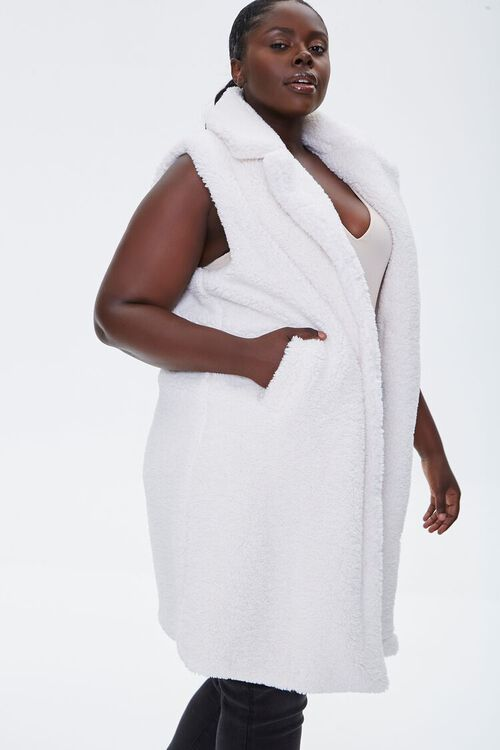 Plus Size Faux Shearling Duster Vest, image 3