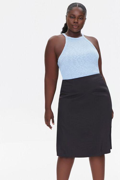 BLACK Plus Size High-Rise Slit Skirt, image 1