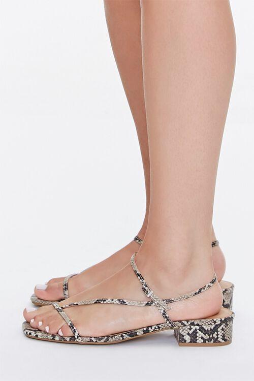 Faux Snakeskin Toe-Loop Block Heels, image 2