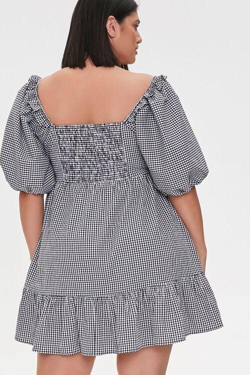 Plus Size Gingham Balloon-Sleeve Dress, image 3