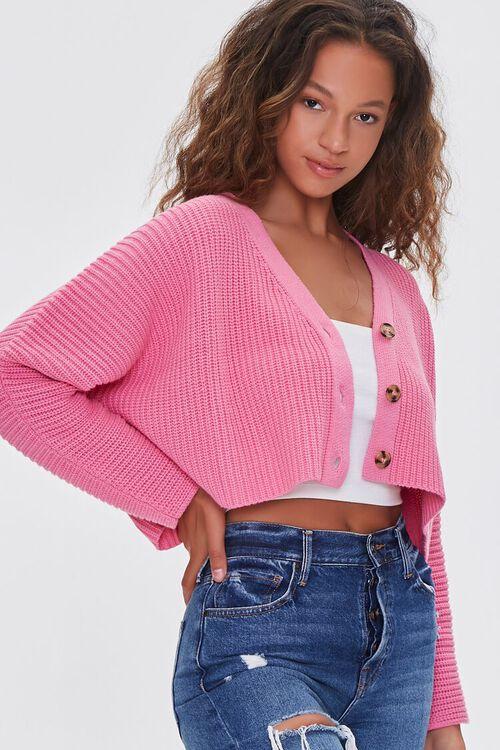 PINK Ribbed Cropped Cardigan Sweater, image 1